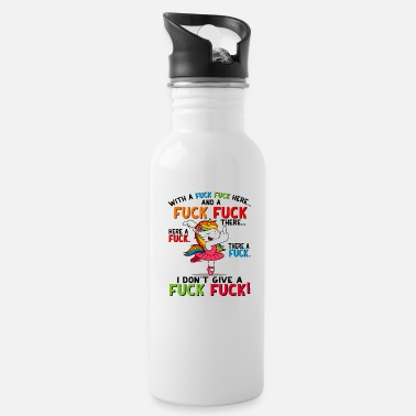 Here With a F F here and a F F there funny Unicorn tee - Water Bottle