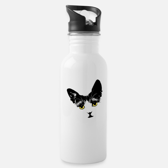 Meow Mugs & Drinkware - Cat silhouette cats gift - Water Bottle white