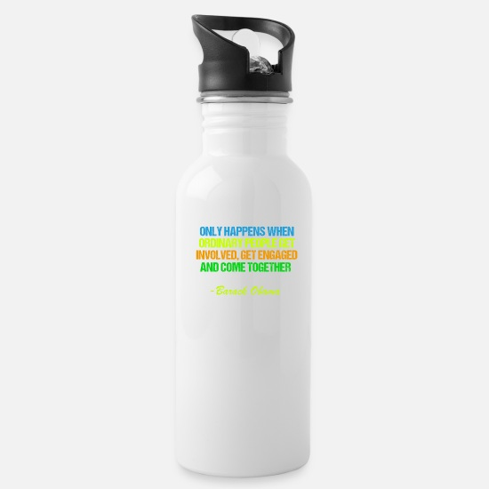Neon Mugs & Drinkware - Obama Change Quote - Water Bottle white