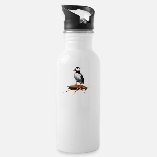Spliff Mugs & Drinkware - Puffin On A Roach - Water Bottle white