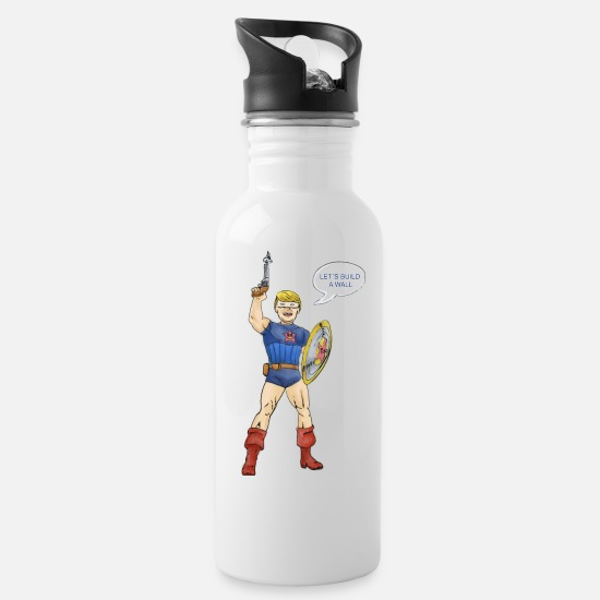 Captain Murica - Let´s build a wall Water Bottle - white