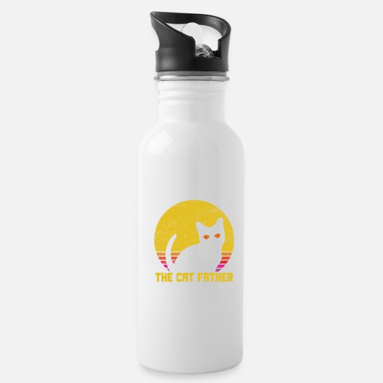 Father And Son Mugs & Drinkware - The Cat Father Cat Lover Vintage Best Cat Dad Ever - Water Bottle white