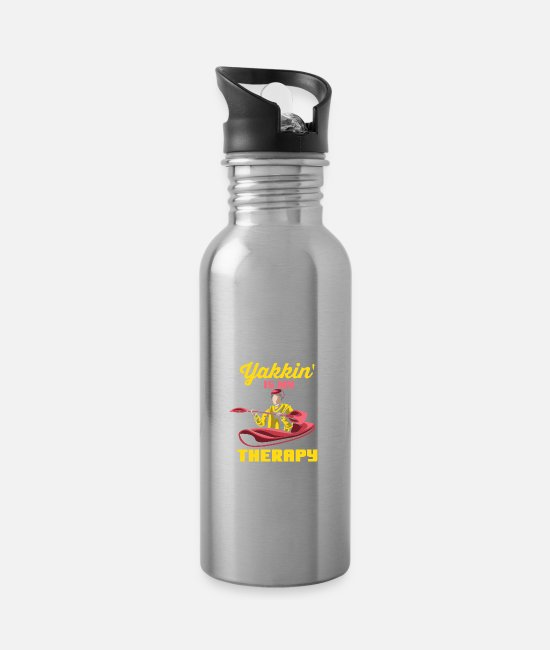 Paddle Mugs & Cups - Yakkin' Is My Therapy - Water Bottle silver