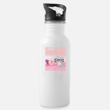 Fist Best Cat Mom Ever Mama Catmom Gift Retro - Water Bottle