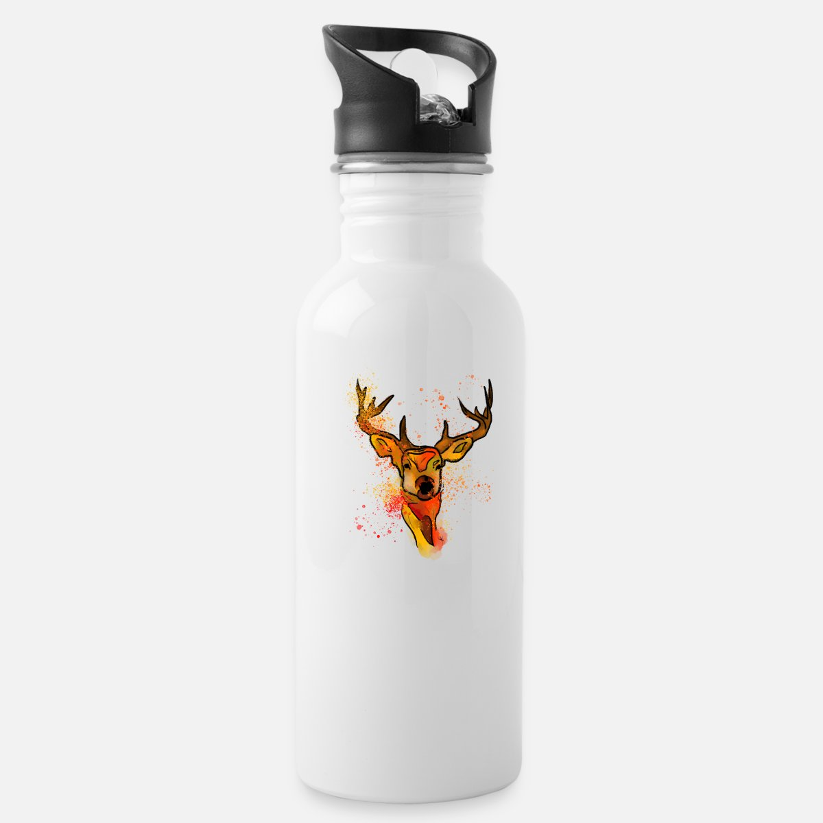 Cute hand draw deer with color splashes water bottle spreadshirt