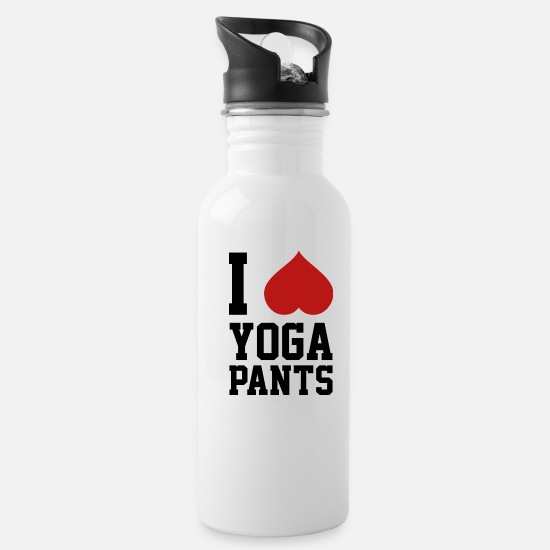 Awesome Mugs & Drinkware - I Love Yoga Pants - Water Bottle white