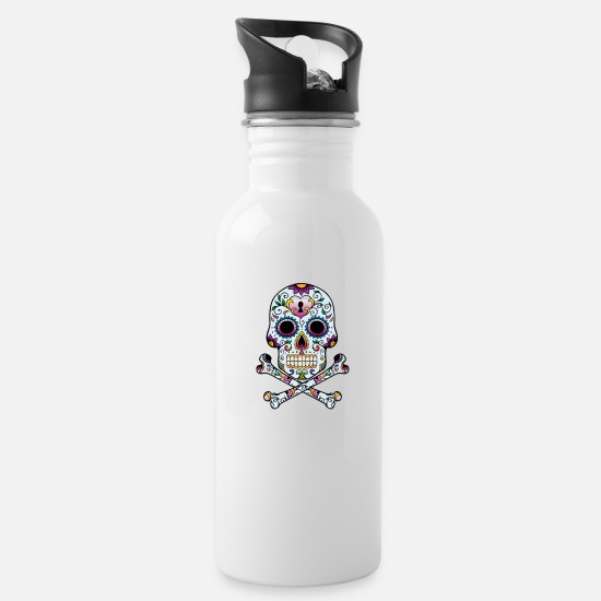 Skull Mugs & Drinkware - Floral Sugar Skull Cross Bones - Water Bottle white