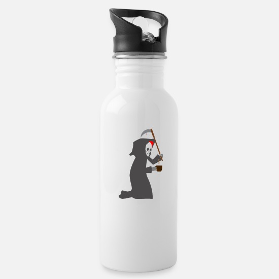 Grimm Mugs & Drinkware - Grim Reaper Sensenmann Kaffee - Water Bottle white