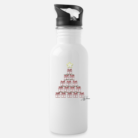 Snowman Mugs & Drinkware - Christmas Presents by Jeff Johnson Designs - Water Bottle white