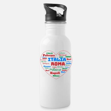 Cuore ITALY HEART ITALIA CUORE WORD CLOUD HOLIDAY (AZUR) - Water Bottle