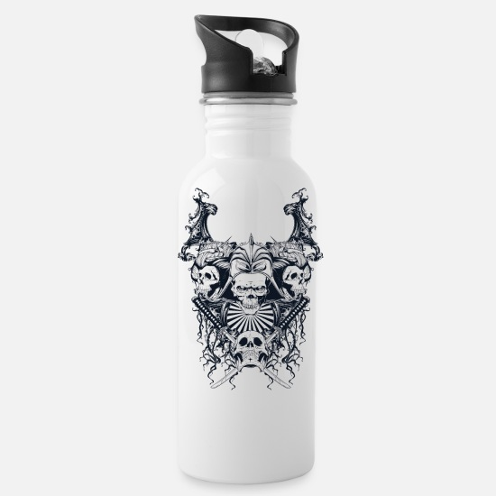 Death Mugs & Drinkware - Dead Samurai - Water Bottle white