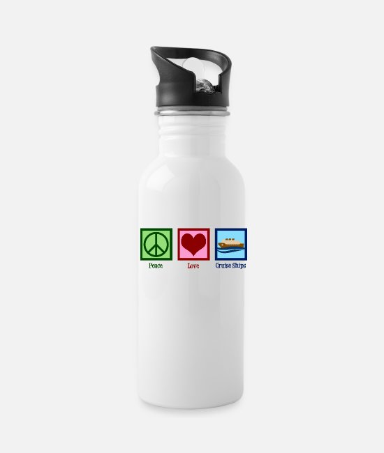 Cruise Mugs & Cups - Peace Love Cruise Ships - Water Bottle white