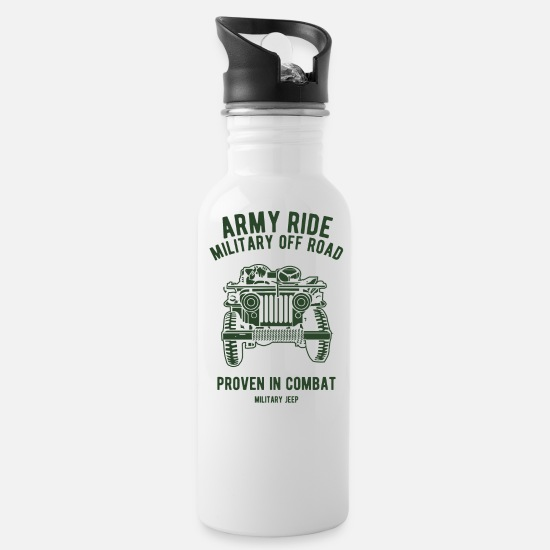 Jeep Mugs & Drinkware - Army Ride Military Off Road Military Jeep - Water Bottle white
