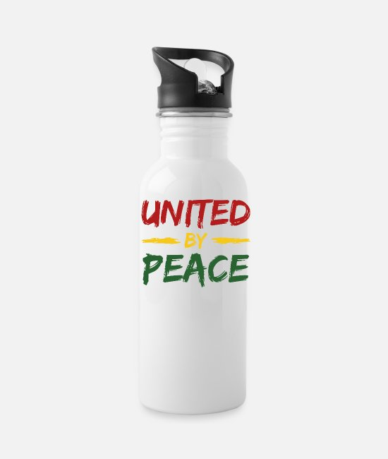 Rasta Mugs & Cups - united by peace - Water Bottle white