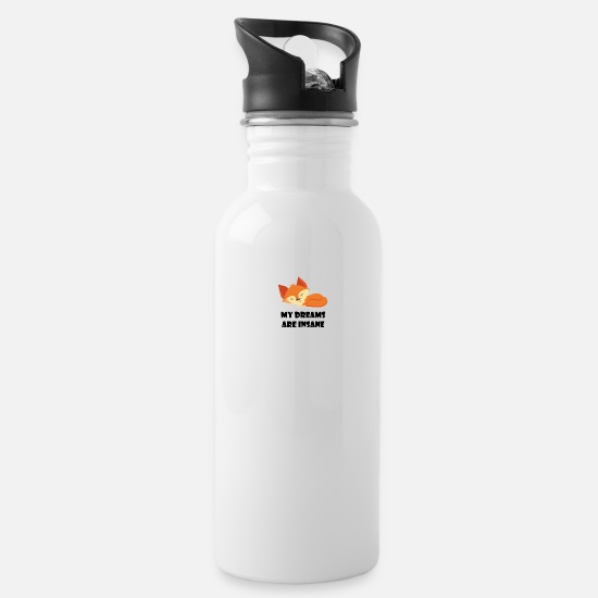 Lazy Mugs & Drinkware - my dreams are insane fox sleepyhead - Water Bottle white