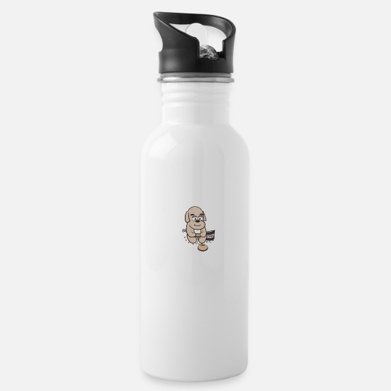 Console Mugs & Drinkware - The Dog Who Got Hooked on Gaming - Water Bottle white