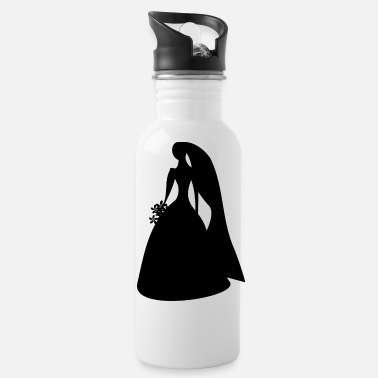 Matrimony Bride With Flowers Silhouette - Water Bottle