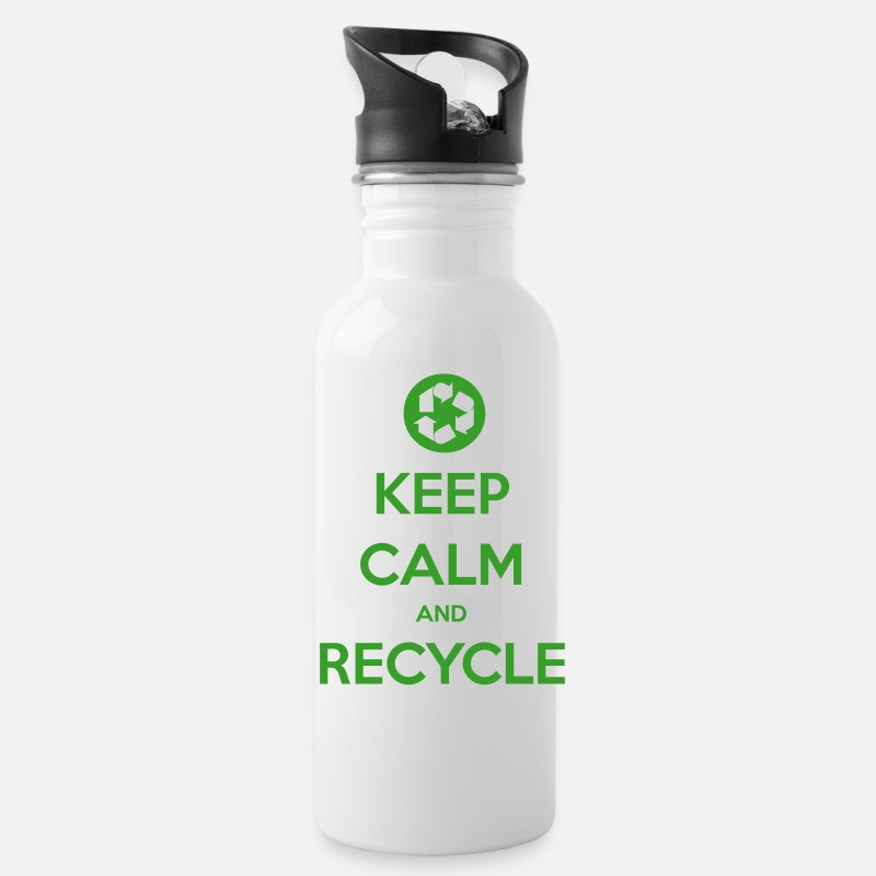 Earth Day Mugs & Drinkware - Keep Calm and Recycle - Water Bottle white