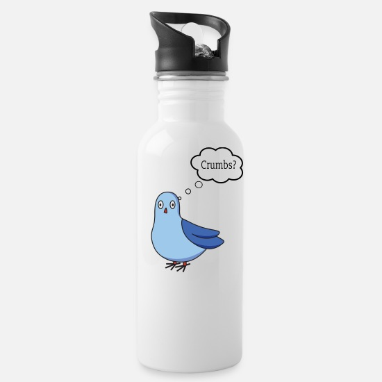 Pigeon Mugs & Drinkware - Cute Pigeon wants Crumbs from bread - Water Bottle white