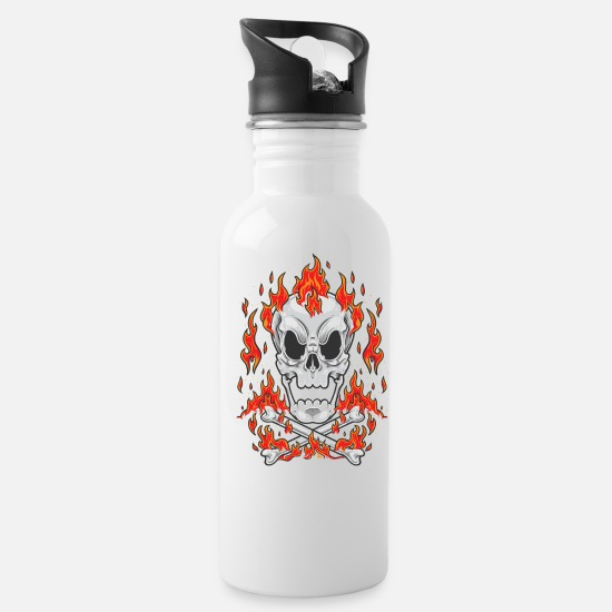 Heavy Mugs & Drinkware - Cartoon Skull Cross Bones Fire - Water Bottle white