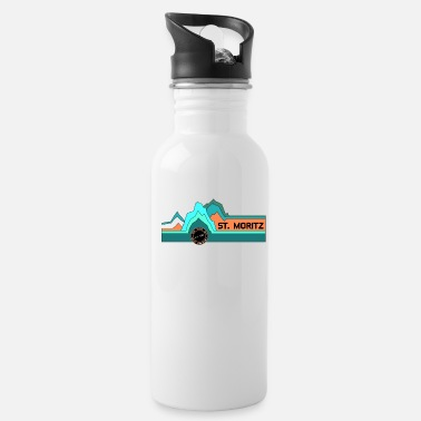 Ski Resort St. Moritz On Top Of Old Smokey - Retro Swiss Alps - Water Bottle
