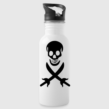 Pirate, Skull, Black Flag - Water Bottle