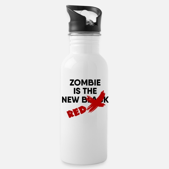 Zombie Apocalypse Mugs & Drinkware - Zombie Is the New Red - Water Bottle white