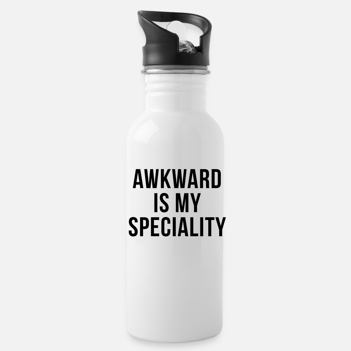 Awkward Specialty Funny Quote Water Bottle White