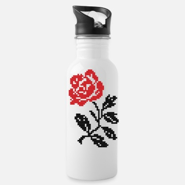 Folklore Original folklore Cross-stitch Red Rose flower - Water Bottle