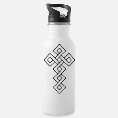 Cross Original black and white cross-stitch Celtic cross - Water Bottle