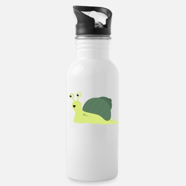 Snail Shell Green Shell Snail Cartoon - Water Bottle