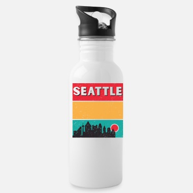 Native Distressed Retro Seattle Washington Skyline - Water Bottle
