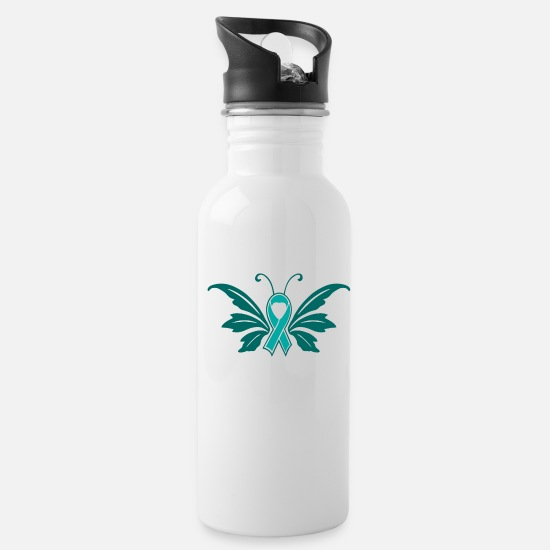 Assault Mugs & Drinkware - Sexual Assault Butterfly Ribbon - Water Bottle white