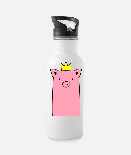 Hog Mugs & Cups - pink Pig with crown piglet sow - Water Bottle white