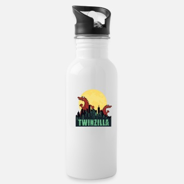 Adult Funny twins twinzilla t-shirt - Water Bottle