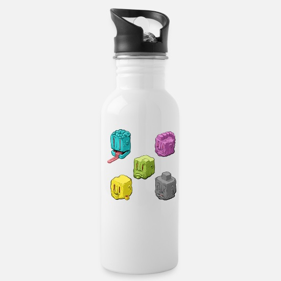 Color Mugs & Drinkware - Funky Faces - Water Bottle white