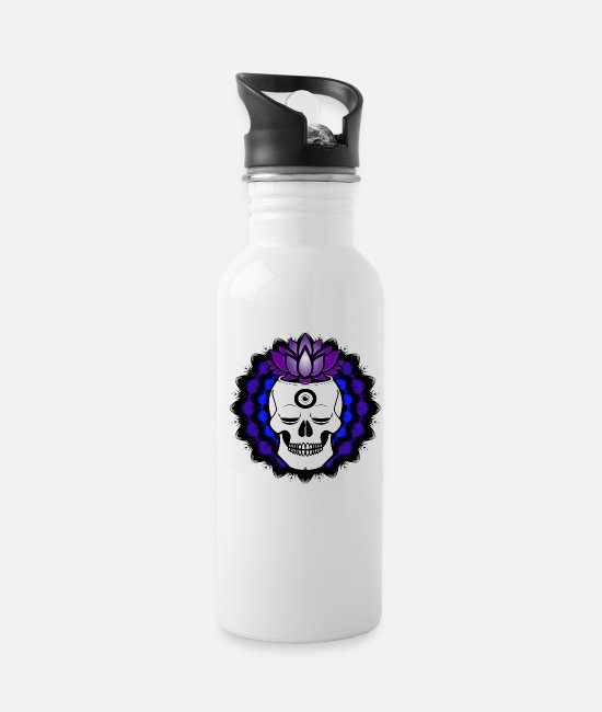 Buddha Mugs & Cups - Buddha Skull with crown chakra and third eye open - Water Bottle white
