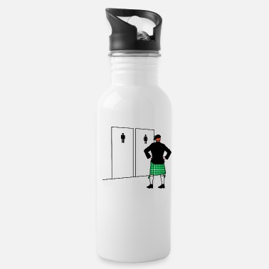 Bathroom Funny St Patrick's Day kilt bagpipe player Irish - Water Bottle