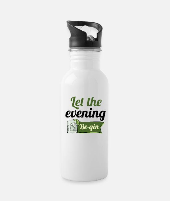 Lime Mugs & Cups - Let The Evening Be-gin - Water Bottle white