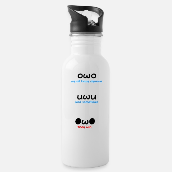 Owo Mugs & Drinkware - We All Have Demons - Water Bottle white
