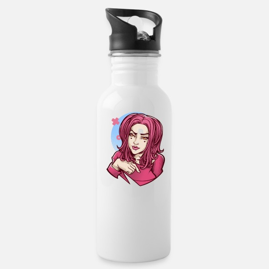 Pink Mugs & Drinkware - Naughty pink E-Girl cartoon face sexy look - Water Bottle white