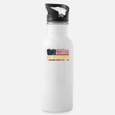 P.E. USA Flag Patriot Coach. PE Physical Education - Water Bottle