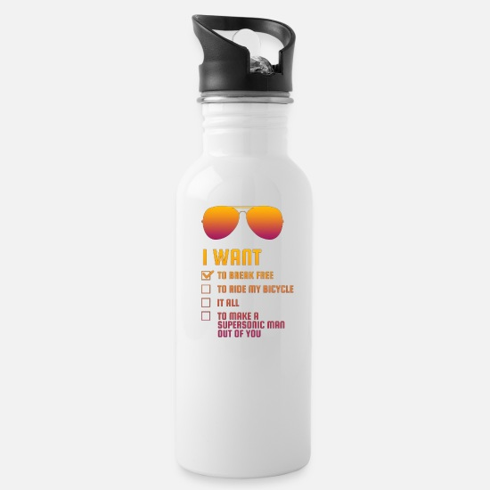 Want Mugs & Drinkware - I Want To Break Free retro - Water Bottle white