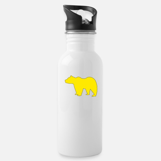 Gay Pride Mugs & Drinkware - Yellow Bear - Water Bottle white