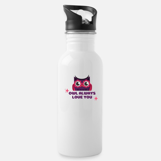 Occasion Mugs & Drinkware - Owl Valentine's Occasion - Water Bottle white