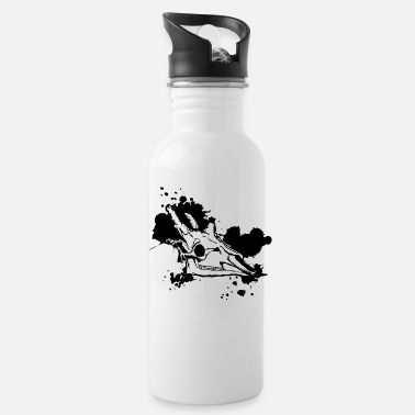 Black & White Giraffe Skull Design - Water Bottle