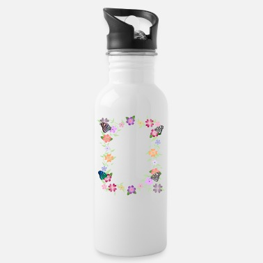 flowers tendril, floral, bloom, butterfly, insect - Water Bottle