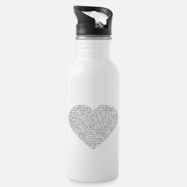 Flecked Justice And Peace Heart Prismatic - Water Bottle