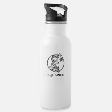 Geometric Aquarius zodiac sign geometric gift hipster birth - Water Bottle