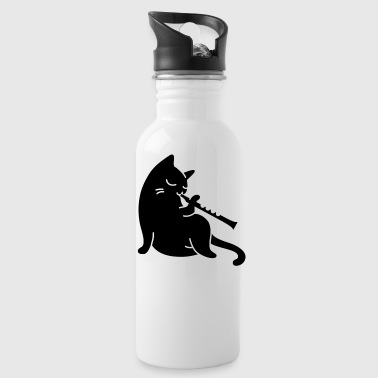 Flute - cat playing flute - Water Bottle